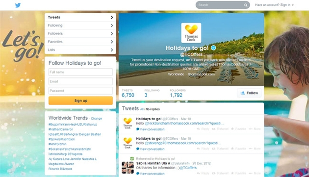 "Thomas Cook's Twitter ""first"""