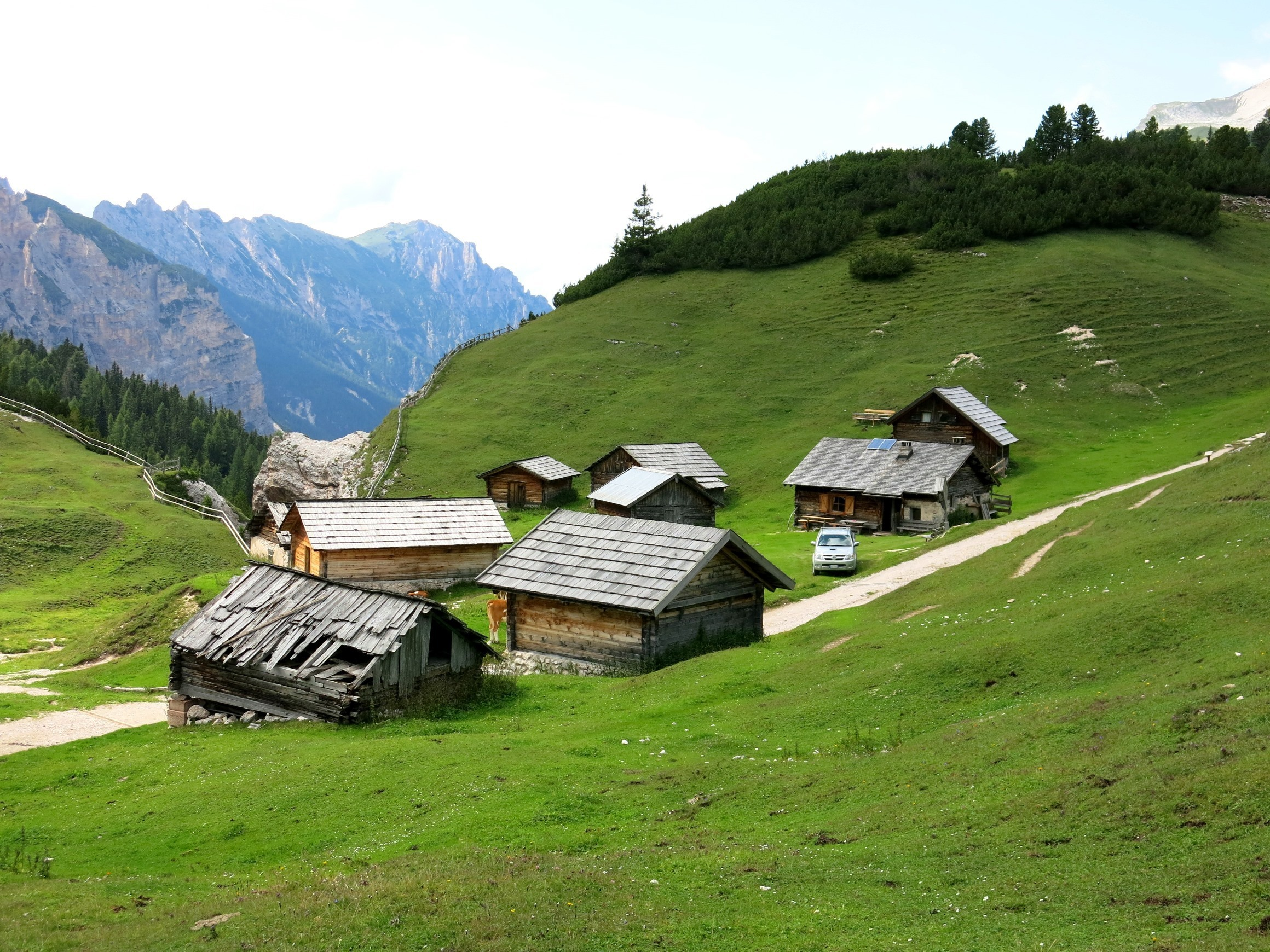 A set of huts in a remote village in the mountains.