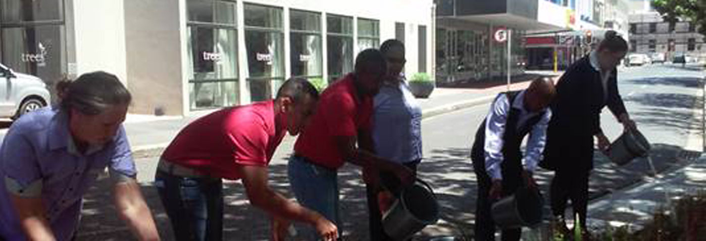 Cape Town hotel's bucket brigade recycles water in the CBD