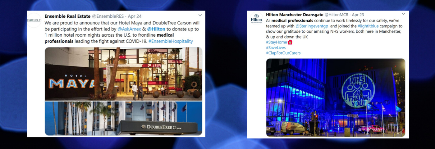 Hilton donate rooms to medical professionals and #lightitblue