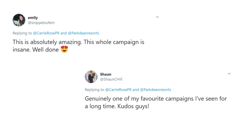 Parkdean Resorts campaign Twitter reaction