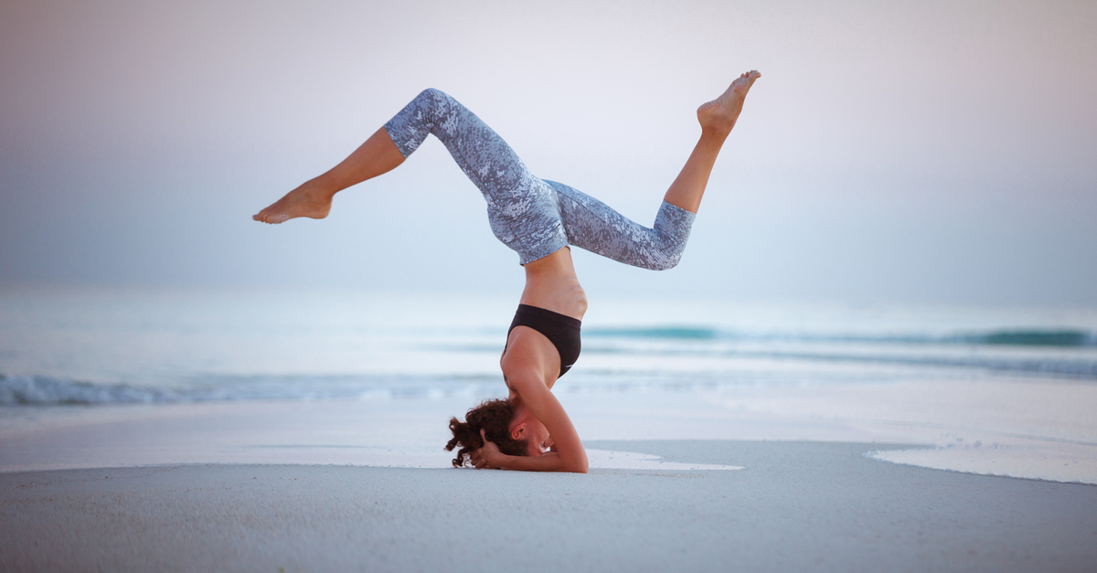 yoga on beautiful beach