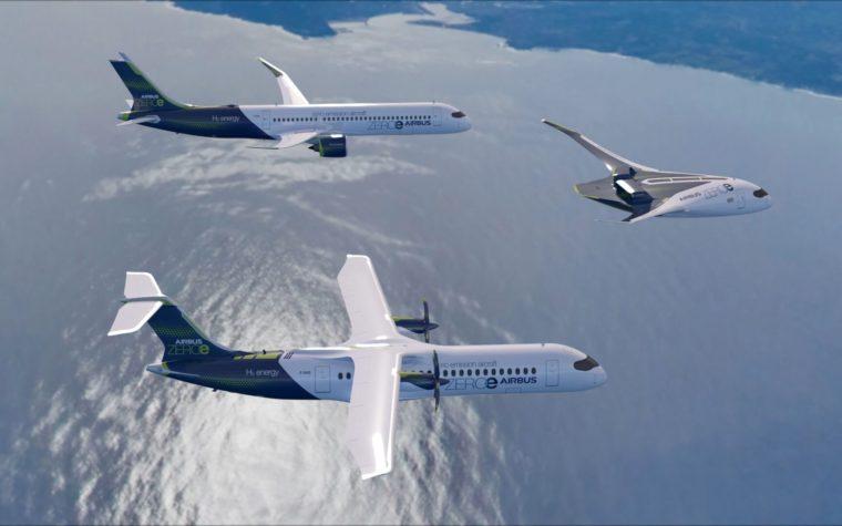 ZEROe concept aircraft - formation flight