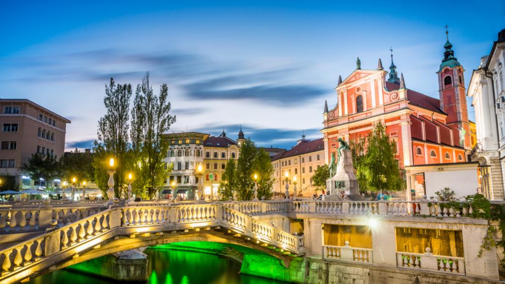 Ljubljana Landmark - Tromostovje in the city center, Slovenia